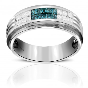 Splendid Men's Ring with Blue and White Invisible Princess-cut Diamonds 14 Karat White Gold