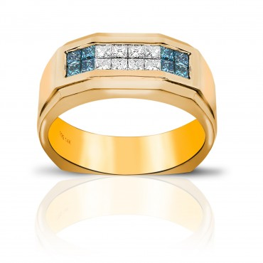 Radiant Men's Ring with Blue and White Invisible Princess-cut Diamonds 14 Karat Yellow Gold