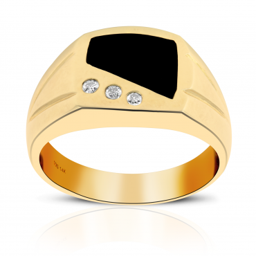 14Kt gold onix with diamonds men's ring