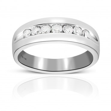 Men's Seven Stone Channel-Set Round Full cut Diamond Wedding Band 14 Karat White Gold