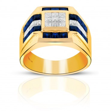 Attention-getting Blue Sapphire and Diamond Invisible Princess-cut Men's Ring 14 Karat Yellow Gold