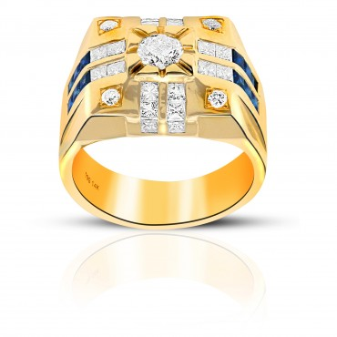 Trendsetting Blue Sapphire and Diamond Princess-cut with Pave full cut Diamond accents Men's Ring 14 Karat Yellow Gold