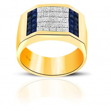 Stunning London Blue Sapphire and Diamond Invisible Princess- cut Men's Ring 14 Karat Yellow Gold