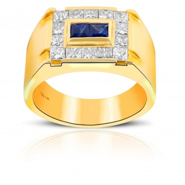 Unique Style Blue Sapphire and Diamond Invisible Princess-cut Men's Ring 14 Karat Yellow Gold
