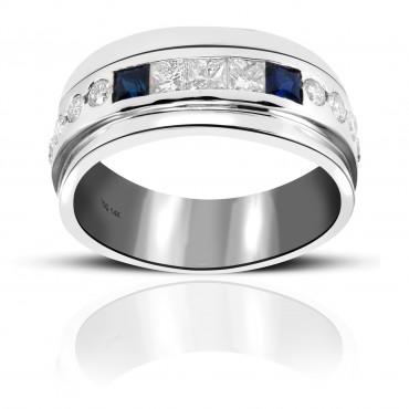 Blue Sapphire and Diamond Invisible Princess-cut Men's Wedding Band with Round full cut Diamond accents 14 Karat White Gold
