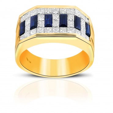 Timeless Classic Blue Sapphire and Diamond Baguette and Invisible Princess-cut Men's Ring 14 Karat Yellow Gold
