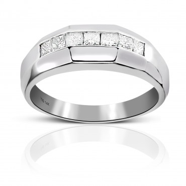 Men's Seven stone Diamond Invisible Princess-cut Wedding Band 14 Karat White Gold