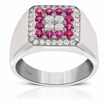 men's ruby and diamond ring set on 14 kt white gold