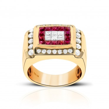 spectacular men's ruby and diamond ring set in 14 kt gold