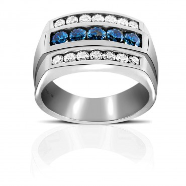 Sophisticated triple channel-set Full cut Blue and White Diamond Men's Ring 14 Karat White Gold