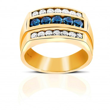 Triple stone channel-set Round Full cut Blue and White Diamond Men's Ring 14 Karat Yellow Gold