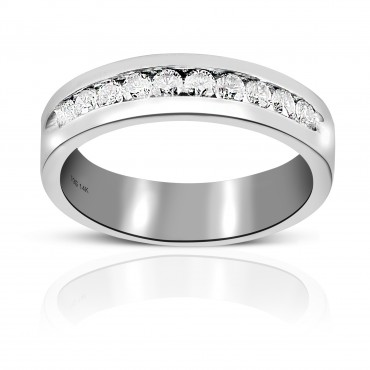 Men's Round full cut Diamond Channel-Set Wedding Band 14 Karat White Gold