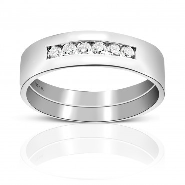 Men's Six Stone Channel-Set Full cut Diamond Wedding Band 14 Karat White Gold