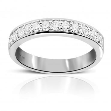 Woman's 14 Karat White Gold Channel-Set Style Wedding Ring with Round Full cut Diamonds