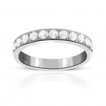 Woman's Channel-Set Style Wedding Ring with Eleven Round Full Cut Diamonds 14 Karat White Gold