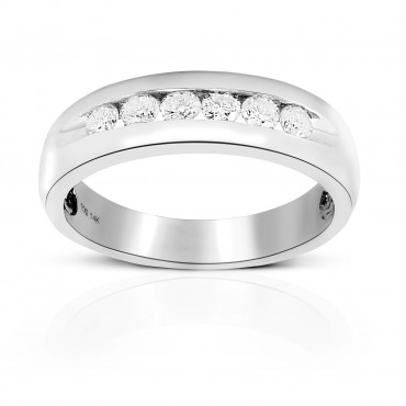 Men's Six Diamond Round full cut Channel-Set Wedding Band 14 Karat White Gold