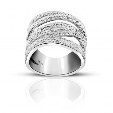 Luxurious 14 Karat White gold Cross over Cocktail Pave Style Ring with Full cut Diamonds