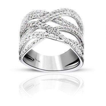 Elegant 14 Karat White gold Cross over Cocktail Pave Style Ring with Full cut Diamonds