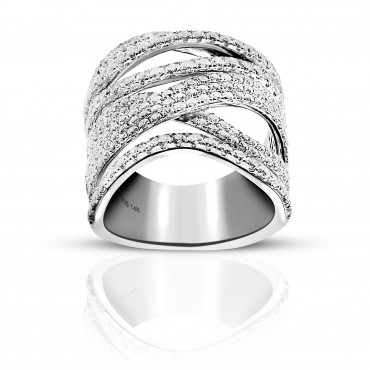 Stylish Pave Cocktail Ring with Full cut Diamonds 14 Karat White Gold