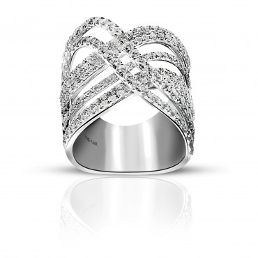Glamorous Pave Style Cocktail Ring with Full cut Diamonds 14 Karat White Gold