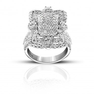 Eye-catching Pave Style Cocktail Ring with Full cut Diamonds, 14 Karat White Gold