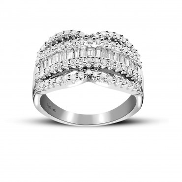 Classic Pave and Baguette Cocktail Diamond Ring 14 Karat White Gold