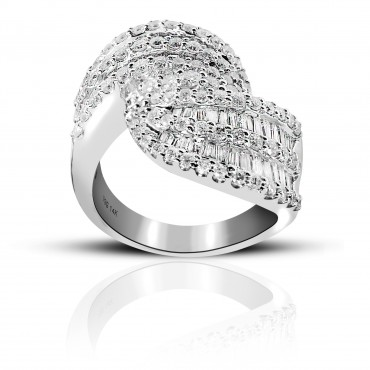Treasure Trove Pave and Baguette Diamond Cocktail Ring 14 Karat White Gold