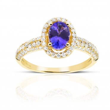 Oval Tanzanite halo and Pave' Diamond accent Ring 14 Karat Yellow Gold