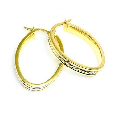 14 Karat Yellow Gold Diamond Cut Medium Hoop Earrings