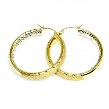 14 Karat Two Tone Gold Shiny and Satin Diamond Cut Medium Hoop Earrings