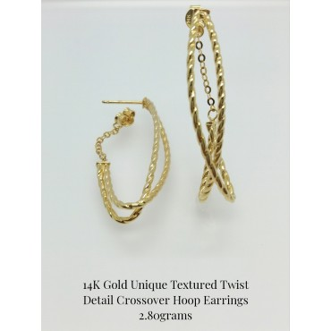 14K Yellow Gold Unique Textured Twist Detail Crossover Hoop Earrings