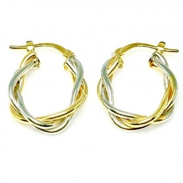 14 Karat Two Tone Gold Intertwined Medium Hoop Earrings