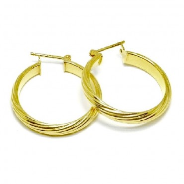 14 Karat Yellow Gold Spiral Twist Medium Hoop Earrings