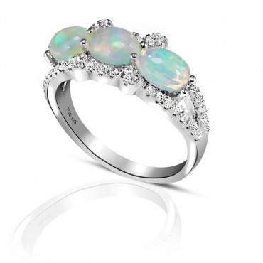 Fiery Opal with White Topaz Ring set in Sterling Silver