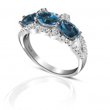 Charming Blue Sapphire and White Topaz Ring set in Sterling Silver