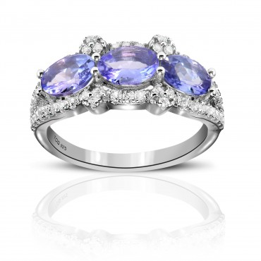1.29 Carat Tanzanite Sterling Silver Tanzanite and White Topaz Ring