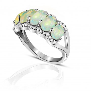 Brilliant Opal and White Topaz Ring set in Sterling Silver
