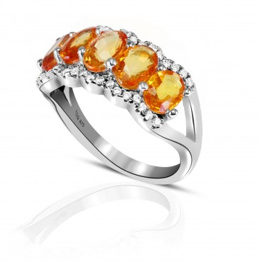 Impressive Yellow Sapphire with White Topaz set in Sterling Silver