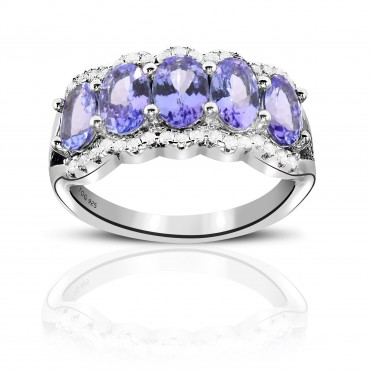 2.15 Carat Tanzanite 925 Nickel free Silver Tanzanite and White Topaz Ring