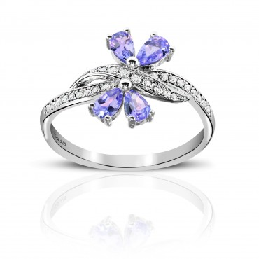 0.77 Carat Tanzanite Sterling Silver Tanzanite and White Topaz Ring