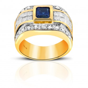 Heirloom Classic London Blue Sapphire with Invisible Princess-cut and Pave Diamonds Men's Ring 14 Karat Yellow Gold