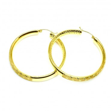 14 Karat Yellow Gold Shiny Diamond Cut Medium Hoop Earrings
