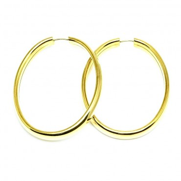 14 Karat Yellow Gold Classic Shiny Oval Large Hoop Earrings