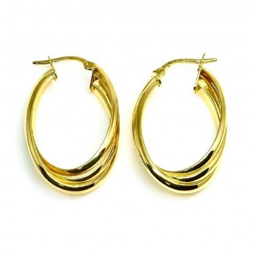 14 Karat Yellow Gold Triple Oval Medium Hoop Earrings