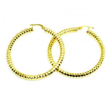 14 Karat Yellow Gold Textured Medium Hoop Earrings