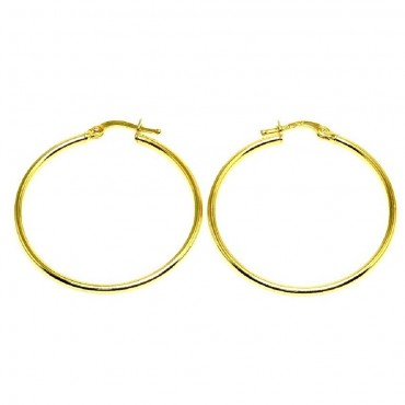 14 Karat Yellow Gold Flat Medium Hoop Earrings
