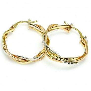 14 Karat Tri Gold Intertwined Diamond Cut Medium Hoop Earrings