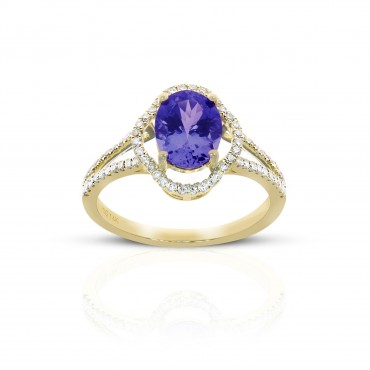Vintage style Oval Tanzanite split shank ring with Pave' Diamond accents 14 Karat Yellow Gold