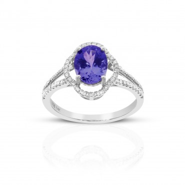 Vintage style Oval Tanzanite split shank ring with Pave' Diamond accents 14 Karat White Gold