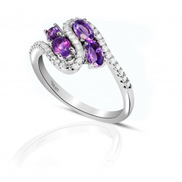 Beautiful Amethyst and White Topaz set in Sterling Silver